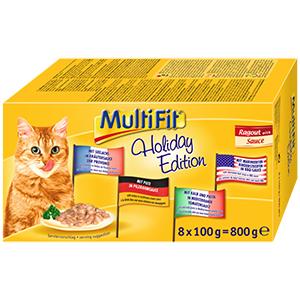 MultiFit cica tálkás eledel holiday 8x100g