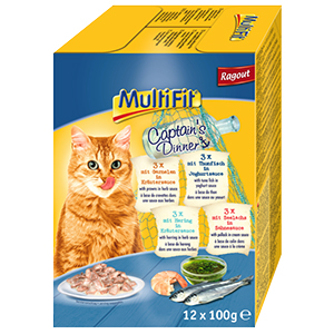MultiFit cica tasakos eledel MultiPack 12x100g Captain's Dinner