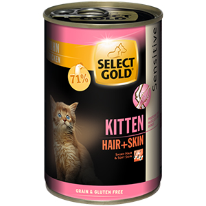 SELECT GOLD konzerv cicáknak Hair+skin Kitten 400g