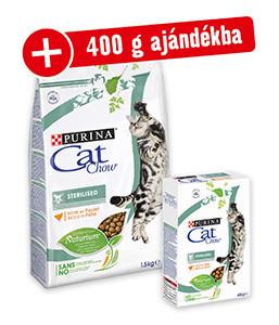 400 g AJÁNDÉK (2-féle) – Cat Chow macsak szárazeledel 1,5kg (8-féle)