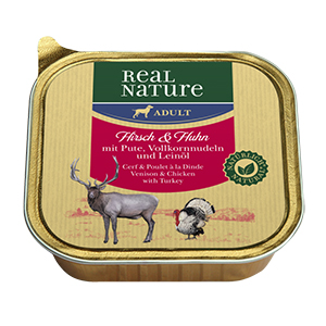 Real Nature tálka adult szarvas&csirke 100g