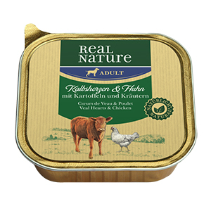 Real Nature tálka adult borjúszív&csirke 100g