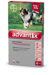 Advantix Spot on 10-25 kg közötti kutyáknak A.U.V. 4 x 2,5 ml