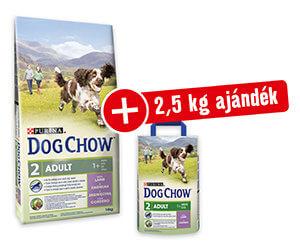 AJÁNDÉK 2,5kg – DOG CHOW száraz eledel 14kg (többféle)