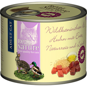 Real Nature konzerv adult vadnyúl&szárnyas 200g
