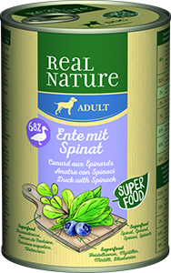 Real Nature Classic konzerv adult kacsa&spenót 400g
