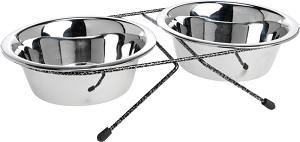 AniOne etetőtál dupla rozsdamentes acél 2×700 ml