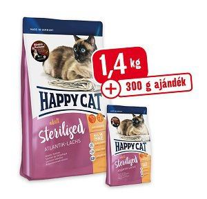 300 g AJÁNDÉK – Happy Cat Supreme Fitt & Well Adult Sterilised lazac 1,4 kg