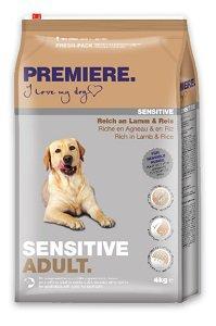 PREMIERE Sensitive száraz eledel (kutya) 4kg/12,5kg Pl. adult bárány&rizs 4kg