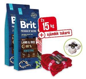 2 db 15 kg+AJÁNDÉK TAKARÓ - BRIT Premium by Nature száraz eledel 15 kg (kutya/többféle) Pl. 1 db Sensitive bárány&rizs 15kg