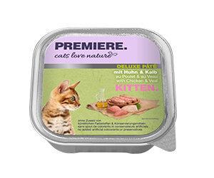 PREMIERE Cats Love Nature Deluxe paté tálka kitten csirke&borjú 100g