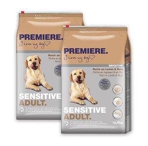 2 db PREMIERE Sensitive száraz kutyaeledel (többféle) Pl. adult bárány&r. 12,5 kg vásárlása esetén 1 db ára: