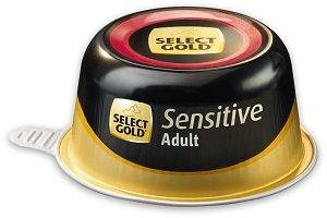 4+1 AKCIÓ - SELECT GOLD Sensitive tálkás eledel kutyáknak 125g 1 db ára (4+1 esetén)