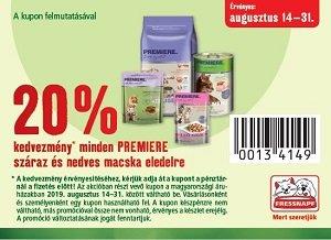 20% KUPONNAL - PREMIERE macska eledel, jutalomfalat (többféle) Pl. PREMIERE CLN száraz eledel 300 g