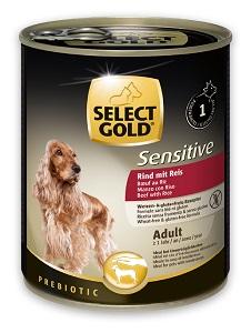 5+1 AKCIÓ – SELECT GOLD Sensitive konzerv kutyáknak (többféle) Pl. 1 db 800g konzerv ára (5+1 esetén):