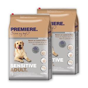 2 db esetén 20% kedvezmény - PREMIERE Sensitive száraz eledel (többféle) Pl. adult bárány&rizs 12,5kg 1 db ára:
