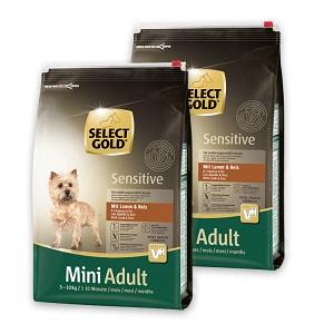 2 db esetén 20% kedvezmény - SELECT GOLD Sensitive száraz eledel Pl. mini adult bárány 4kg 1 db ára: