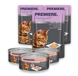 6 db esetén 20% kedvezmény - PREMIERE Fine Filets tasak/konzerv macska eledel 100g 1 db ára: