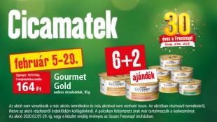 Februári cicamatek: 8 Gourmet Gold cicaeledel 6 áráért